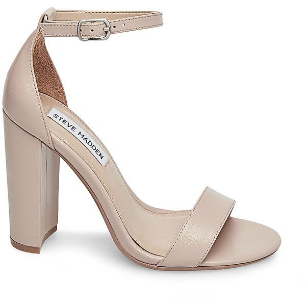 Steve Madden Carrson Sandals ($90) ❤ liked on Polyvore featuring shoes, sandals, blush lea, high heels sandals, fleece-lined shoes, leather lined shoes, block high heel shoes and genuine leather shoes