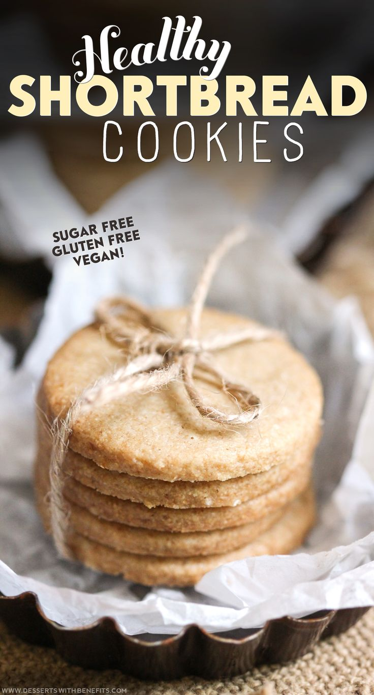 Healthy Shortbread Cookies -- simple, sweet, buttery, and delicious!  You'd never know these are sugar free, gluten free, dairy free, and vegan! Healthier swaps make this recipe guilt-free and lower calorie than their sugar- and butter-infused counterpart, yet just as tasty.