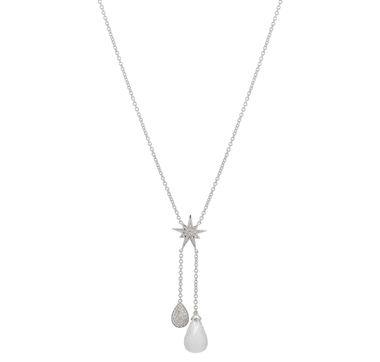 Sterling Silver Rhodium Plate Gemstone Diamond Drop Necklace