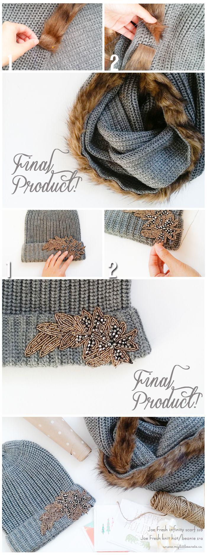 DIY Fur Trimmed Infinity Scarf, DIY Knit Hat Beanie, Winter Accessories