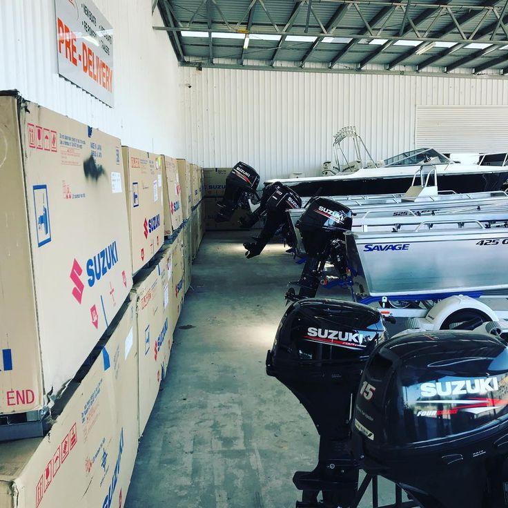 Some of the line up of Suzuki Four Stroke engines leaving our doors this week! #suzukimarineaus #boatingmadebetter #leanburn #summer #snapper #portfairy #portland #melbourne #mechanic #marine #victoria #geelong #ballarat #simrad #watersports #familyfun #camping