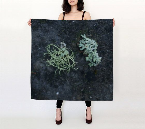 """Forest Lichens  36""""X 36"""" Large Square Silk Scarf by LOVEMIZU on Etsy"""