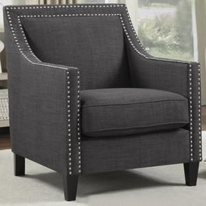 Erica Accent Chair with Walnut Leg in Heirloom Charcoal | Nebraska Furniture Mart