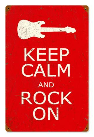 Keep Calm and Rock On 12 x 18 Vintage Metal Sign | Man Cave Kingdom