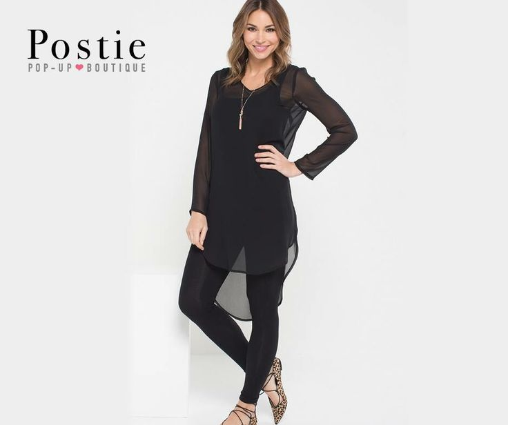 Silla Top  In Black and Rust, this flowing, longer line, high-low chiffon top with 'V' neck and inverted pleat mid back has a generous shoulder fit is totally feminine and pops over anything. Part of the Postie Spring Collection 2016 #postiepopup #spring2016