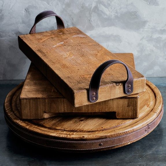rustic wood trays with scrap leather handles