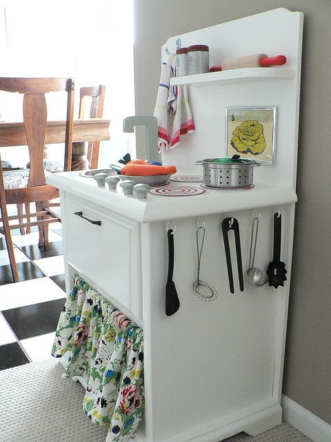 DIY play kitchen from a nightstand.  Would love this for our kitchen for the kiddos