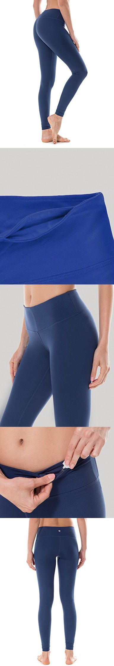 CRZ YOGA Women's Running Tights Workout Leggings Slimming Yoga Pants With Pockets Navy M (8-10)