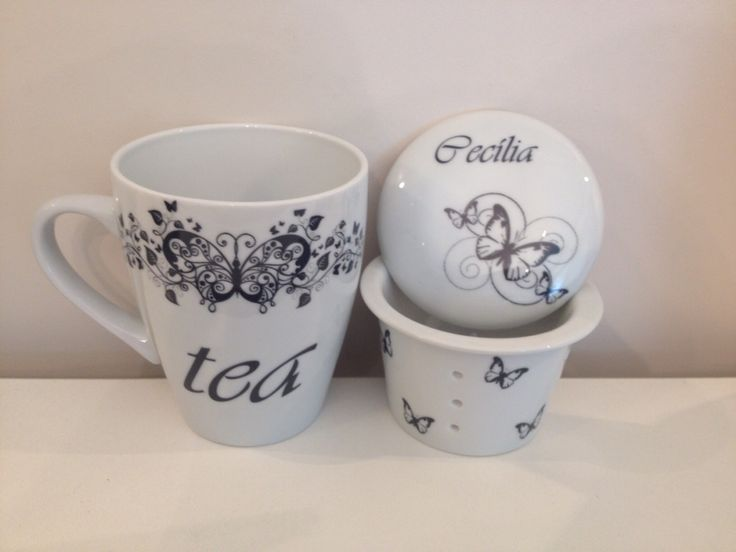 Caneca de chá personalizada com nome. Ceramicart