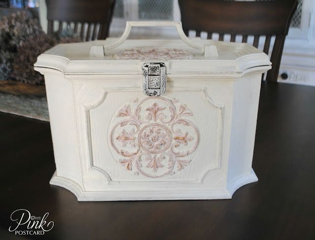 *Pink Postcard*- transform a vintage sewing basket into a handy tool box.  Holds supplies for my antique booth and shows.