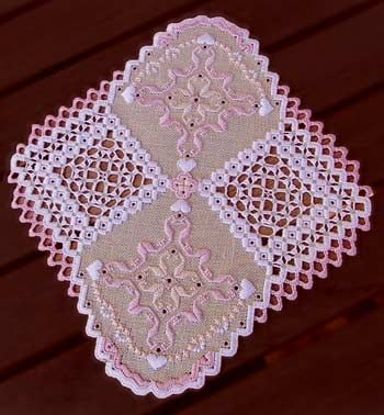This unusual doily has a fancy lacy buttonhole edge. The stitch count is 252 x 240. #stitching #needlework #embroidery