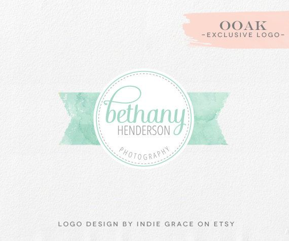 water color logo    OOAK - Custom PreDesigned / pre-made watercolor logo for photography boutique or etsy shop. $85.00, via Etsy.