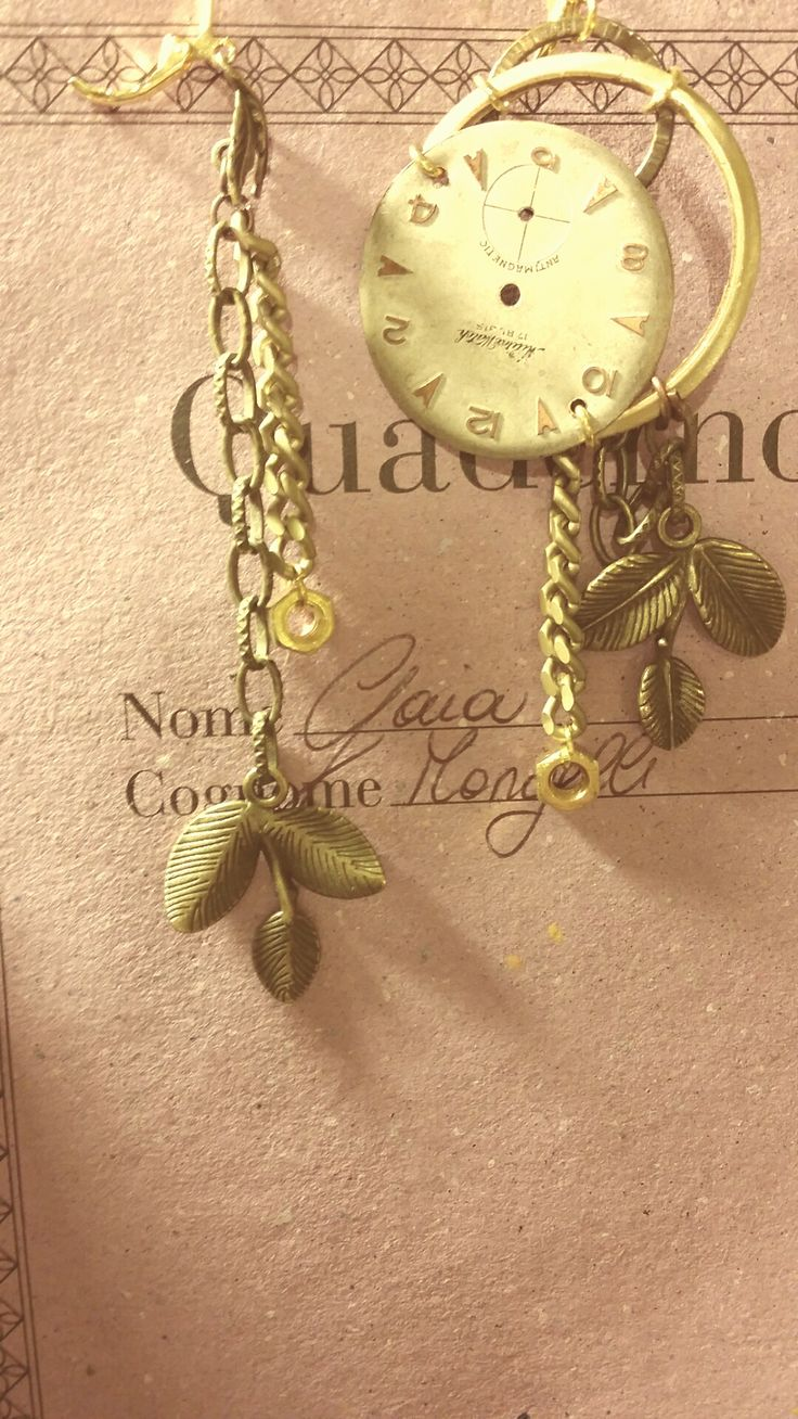 """Earrings """"Senza Tempo"""" collection. Old watches, brass."""