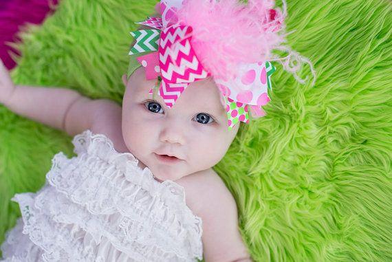 Pink Chevron Baby Headband Pink Chevron Baby Hair Bow Baby Bow headband Toddler Bow Headband