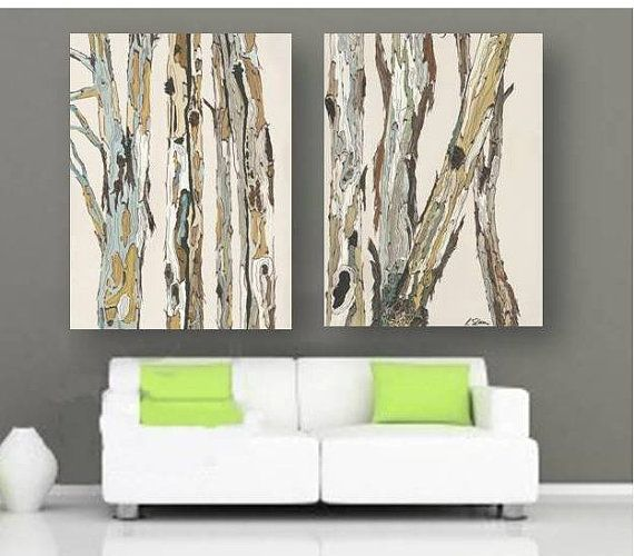 Oversized VERY LARGE Wall Art Canvas Print Soft Pastels Tree Trunks White Green Ocher Blue Office Kitchen Bedroom Living Dining Room Artwork