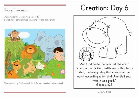 Sunday School Creation Day 6 Take Home Page FREE printable