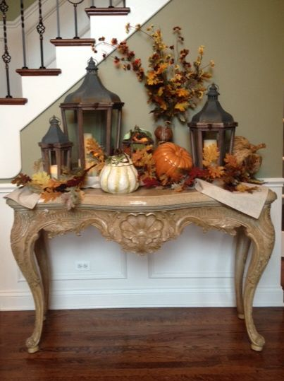 entry hall table ready for fall