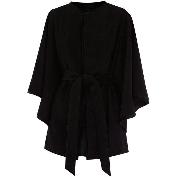 Coast Livia Cape Coat (€220) ❤ liked on Polyvore featuring outerwear, coats, jackets, tops, coats & jackets, wool cape coats, wool capes, woolen coat, belted coat and coast coats