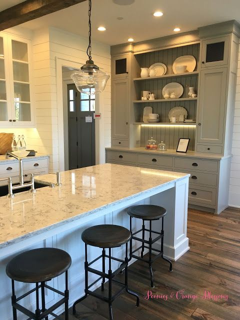 """Touring a French farmhouse, grey paint kitchen with shiplap. Gray paint is Sherwin Williams """"Dorian Gray"""" # 7017"""