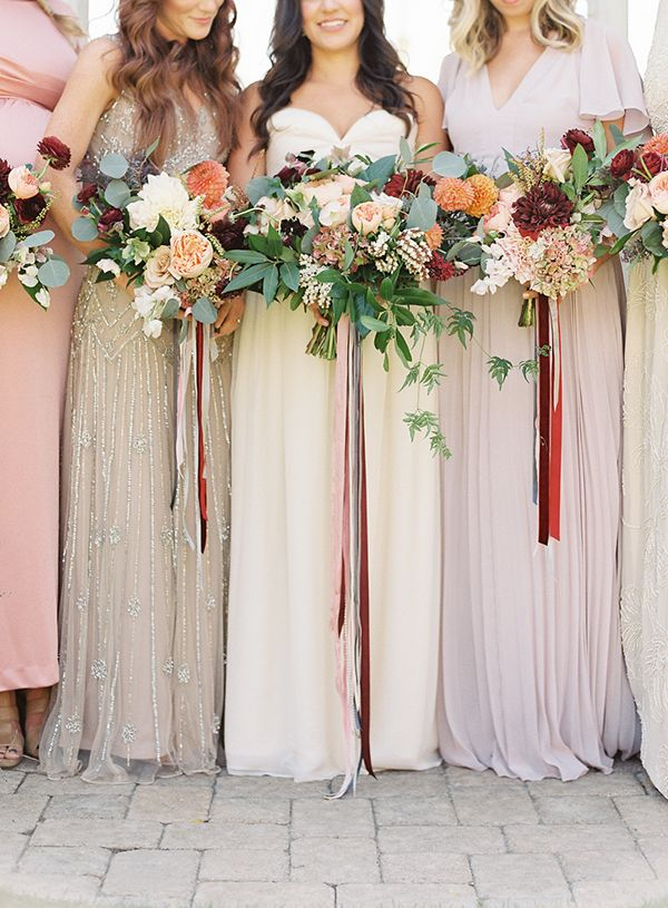 fall bridal party pictures%0A Bridal Party Bouquets in Blush and Burgundy   OMalley Photography   Elegant  Natural Fall Wedding in