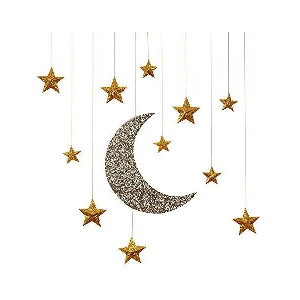 Pack Of 12 Hanging Gold Moon Stars Decorations Liked On Polyvore Featuring Home Home Decor Holiday Decorati Moon Decor Ramadan Decorations Star Decorations