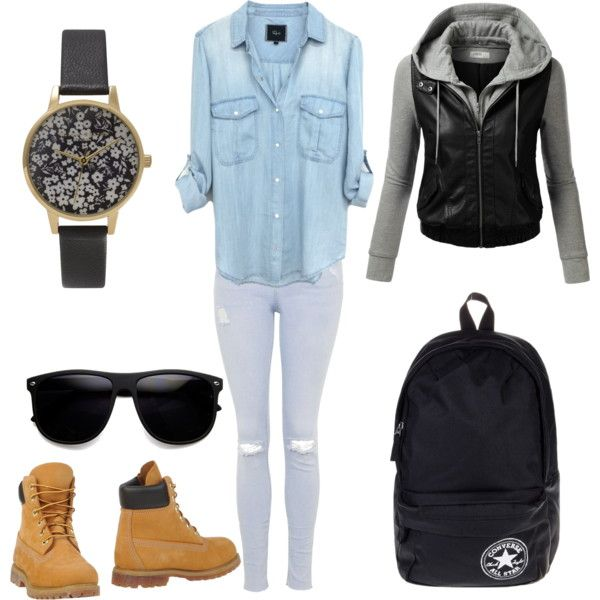 school outfit #4 by paty-porutiu on Polyvore featuring polyvore mode style J.TOMSON Topshop Timberland Converse Olivia Burton