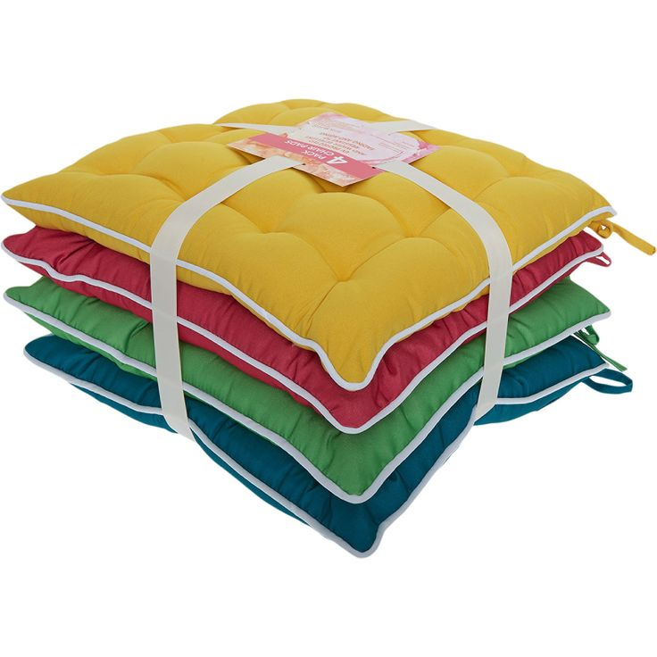 Set Of Four Multicoloured Seat Pads 40x40cm - TK Maxx