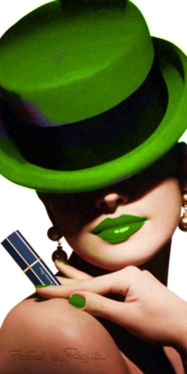 Green hat and lipstick