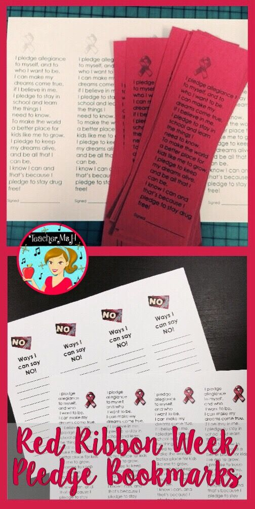 """Drug Free Pledge Bookmark for Red Ribbon Week. Students can sign the pledges and use them as bookmarks that serve as an additional reminder of the commitment they made. Another option is to print the """"Ways to Say No to Drugs"""" side so that students can list ways to say no to drugs. Brainstorm ideas for this as a class!"""