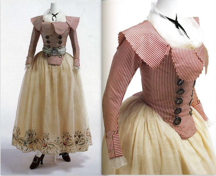 """Pierrot jacket: French 1780-90. Consists of bodice with ruffled """"tail"""" in back, sometimes a separate piece or as often cut into the bodice itself. Literal translation of """"pierrot"""" is """"sparrow"""". Used in a sentence, translation becomes """"clown"""". Pierrot jacket was worn with a skirt of lightweight, white """"linon""""."""