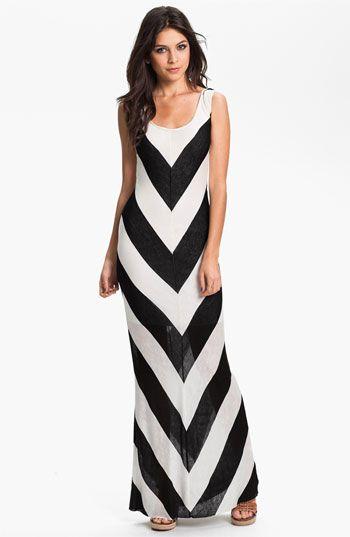 Chevron stripe maxi dress in black and white.