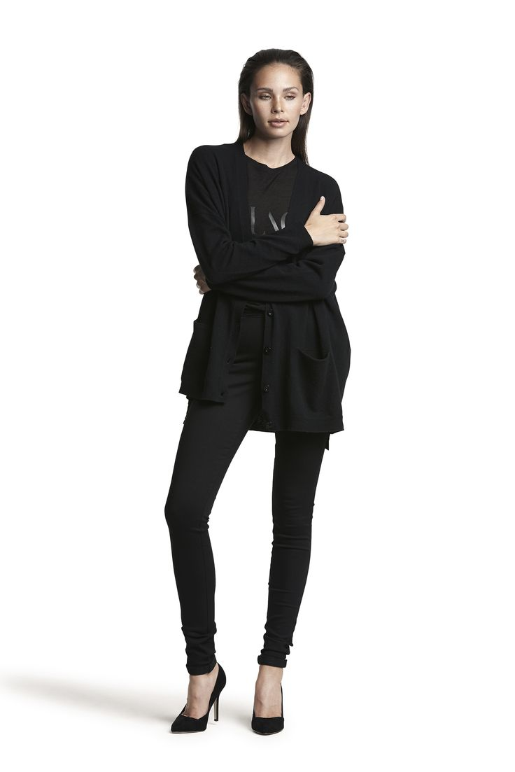 Ghita knit wool cardigan, Galana wool top and Gogo hw slim jeans #black #fashion #soft #comfortable #warm #AW15