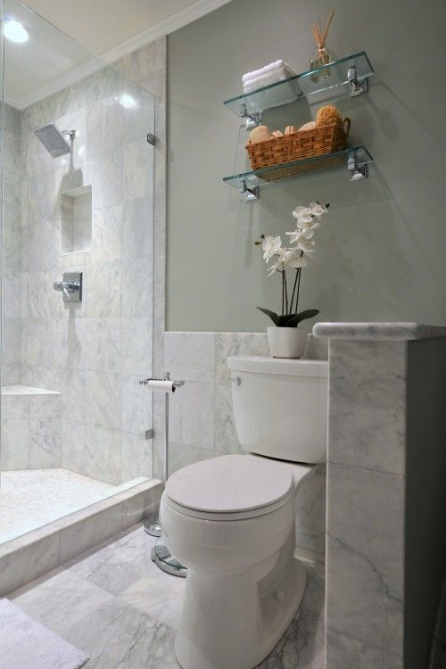 gray tile: Bathroom Design, Glass Shelves, Contemporary Bathrooms, Bathroom Remodel, Marble Bathrooms, Master Bath, Shower, Bathroom Ideas, Half Wall