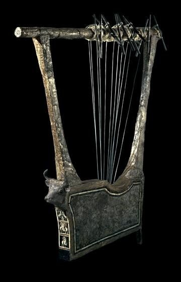 MESOPOTAMIA  - Kingdom of Ur , Lyre from The Royal Tombs of Ur Three quarter view of  the Silver  Lyre.