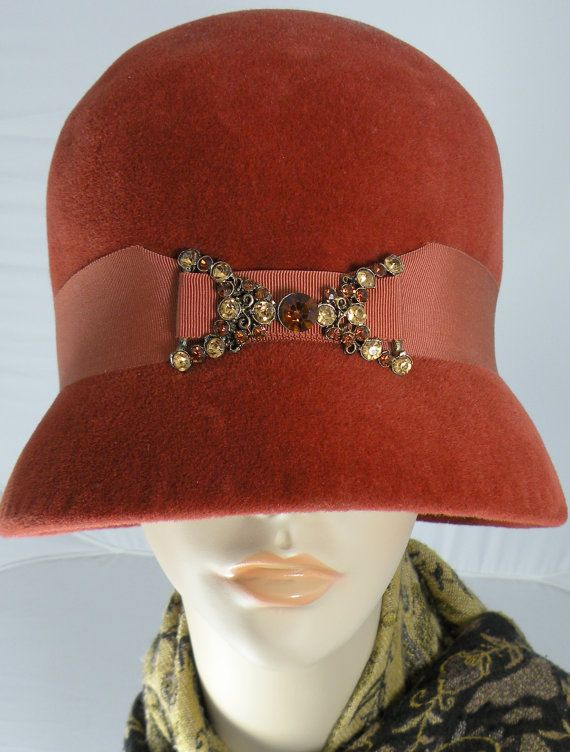 Orange Hat, Vintage Burnt Orange Hat, Womens Hat, Cloche, Bucket, Velour Hat,  Winter Hat Rhinestones