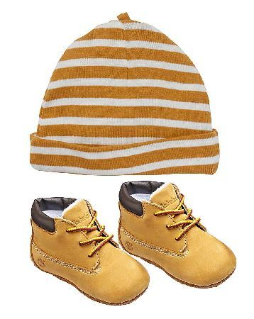 Timberland Crib Bootie with Hat Set Timberland Bootie and Hat Set. The perfect gift for a newborn, this Timberland hat and bootie set comes gift packaged making it ideal for gifts. http://www.MightGet.com/january-2017-13/timberland-crib-bootie-with-hat-set.asp