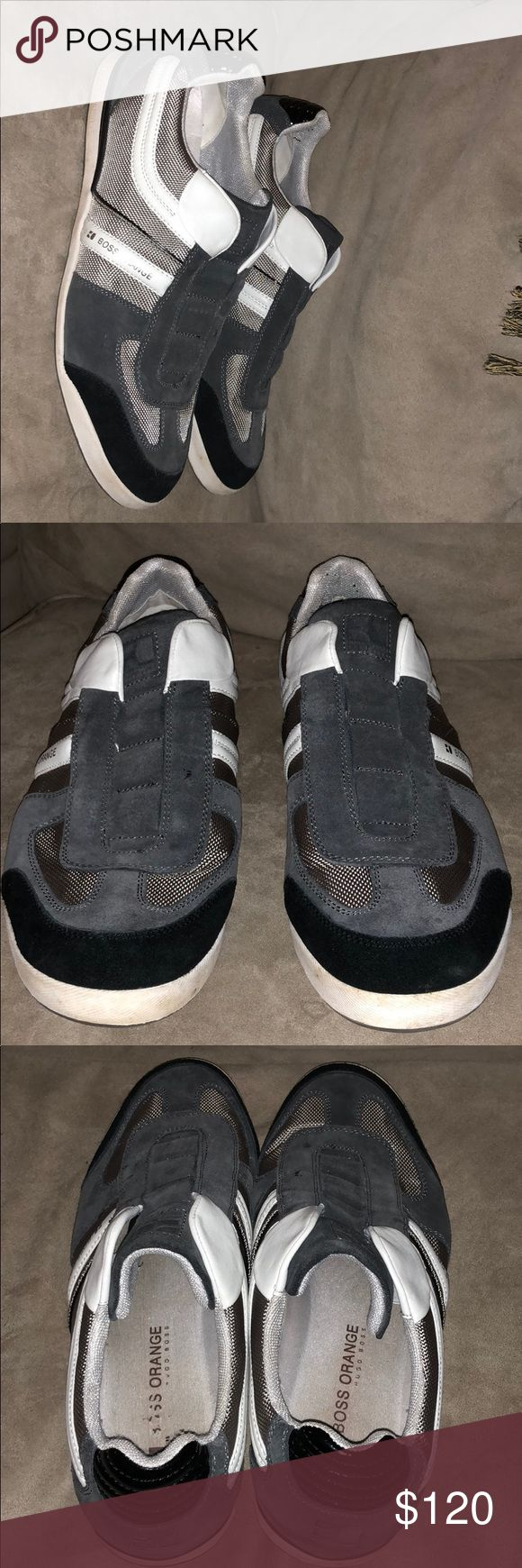 Boss Men's Sneakers Only wore twice. Like new. No flaws. Gray Suede also black and white. The name of them are called Boss Orange which is a limited edition of Boss. 100% Authentic. BOSS ORANGE Shoes Sneakers