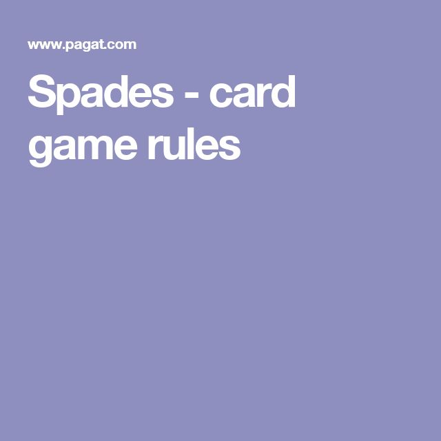 Spades - card game rules