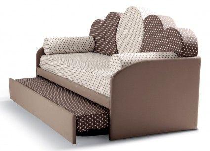 Divanoletto singolo sfoderabile, con letto inferiore estraibile, in tessuto o in ecopelle  2 reti a doghe cm 80x190 incluse, cuscini e materassi esclusi.