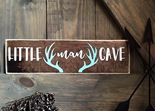little man cave, little man deer antler sign, rustic nursery décor, woodland nursery sign, deer nursery sign, wood animals nursery, rustic baby shower sign