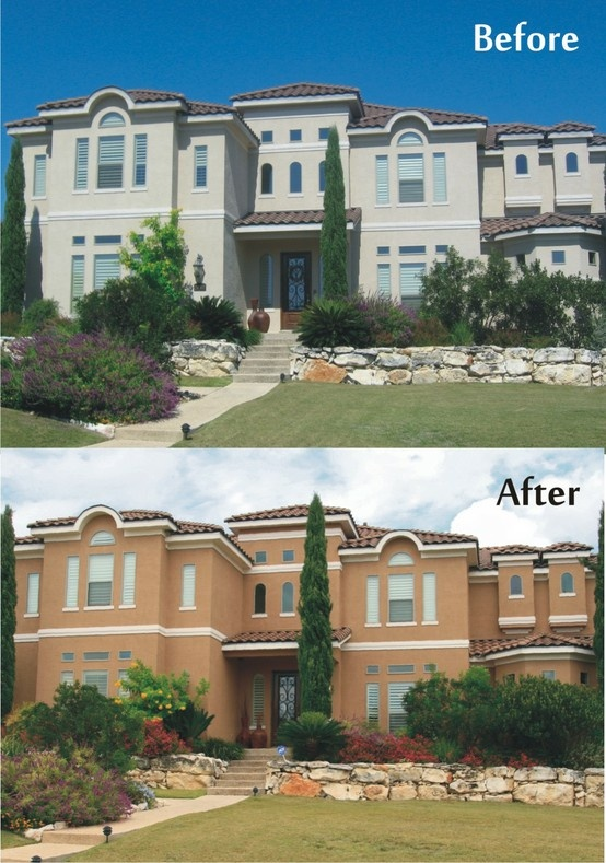 Stucco color changes are always the most dramatic especially when moving away from all white - Exterior grade paint concept ...