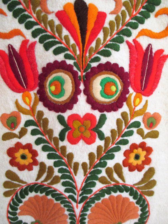 On Sale 163.Vintage hand embroided felt picturehandmade felt