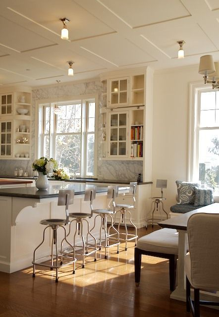 Coffered Ceiling:  Especially when you don't want to lose an inch of ceiling height, a flat molding on the ceiling can form a fabulous pattern without stealing much of that precious floor-to-ceiling space.