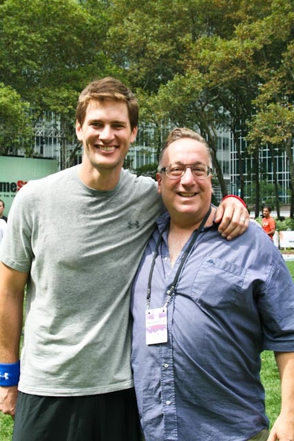 Ryan McPartlin and I playing football, or rather, me watching!