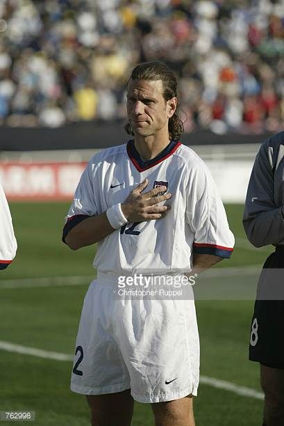 Jeff Agoos of the USA stands for the National Anthem before the CONCACAF Gold Cup match against Cuba on January 21 2002 at the Rose Bowl in Pasadena...