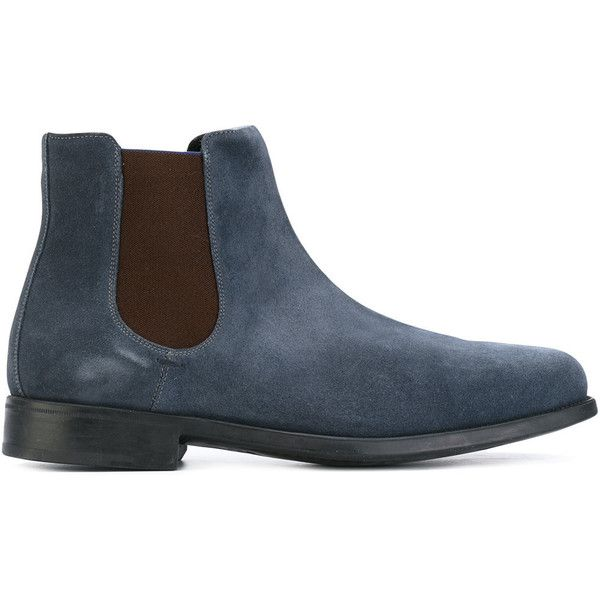 Salvatore Ferragamo Chelsea boots (840 CAD) ❤ liked on Polyvore featuring men's fashion, men's shoes, men's boots, blue, mens slip on boots, mens woven leather slip-on shoes, mens leather shoes, mens blue boots and mens blue leather boots