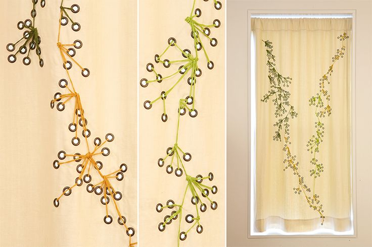 Elodie Blanchard Curtain - Linen with grommets and green and orange embroidery