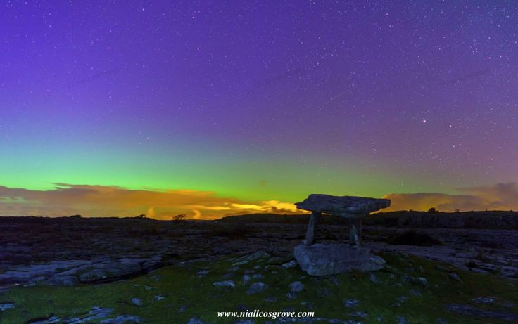 Aurora Borealis (Northern Lights) visible from The Burren, County Clare. Pic Niall Cosgrove