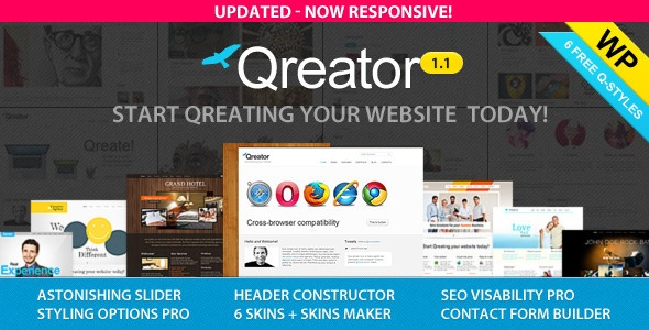 Qreator - Responsive Premium Wordpress Theme  Price $35