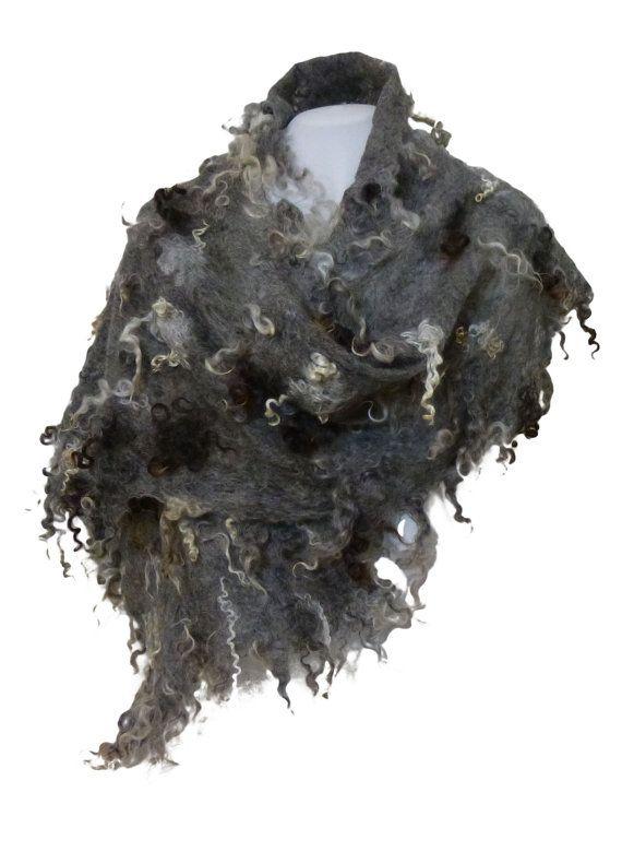 Natural fleeceFelt fur curly  Scarf Wrap  Scarf by VEGAfelt